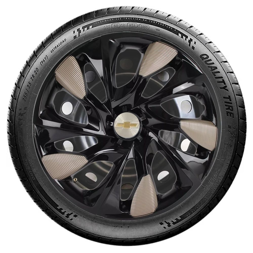 Jogo 4 Calota DS5 Aro 14 Black / Gold Rodas Chevrolet 4x100 / 4x108 / 5x100 Universal Gm