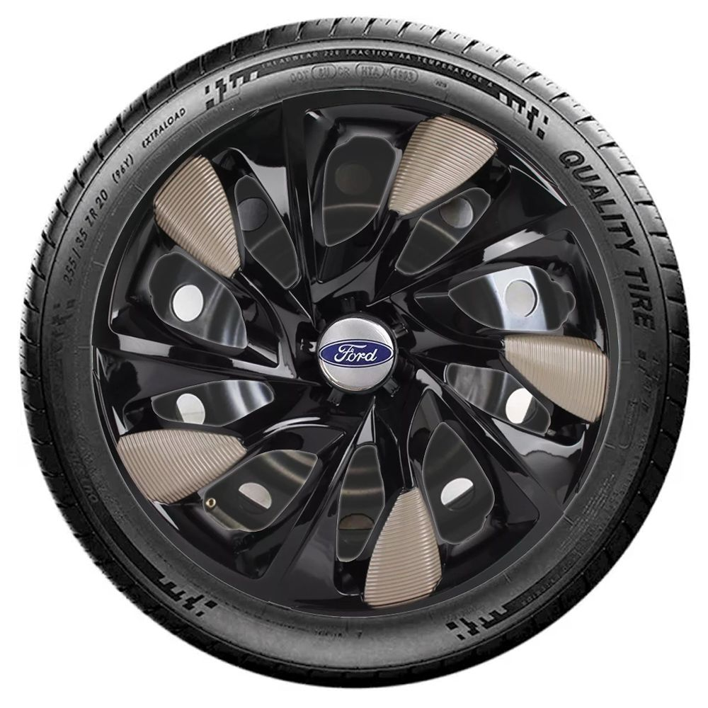 Jogo 4 Calota DS5 Aro 14 Black Gold Rodas Ford 4x100 / 4x108 / 5x100 Universal
