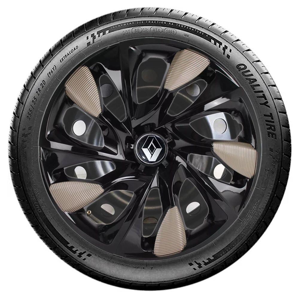 Jogo 4 Calota DS5 Aro 14 Black Gold Rodas Renault 4x100 / 4x108 / 5x100 Universal