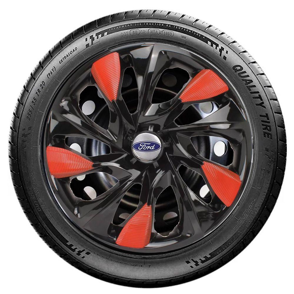 Jogo 4 Calota DS5 Aro 14 Black Red Rodas Ford 4x100 / 4x108 / 5x100 Universal
