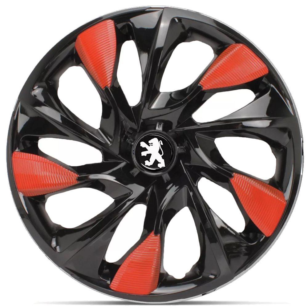 Jogo 4 Calota DS5 Aro 14 Black Red Rodas Peugeot 4x100 / 4x108 / 5x100 Universal