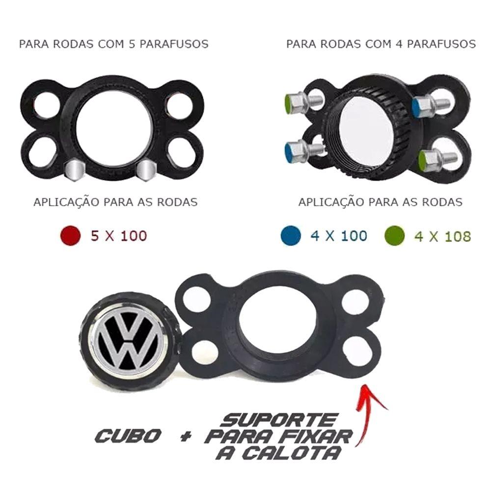Jogo de Calotas Volkswagen DS5 Preto e Vermelho Aro 14 Universal Poliparts