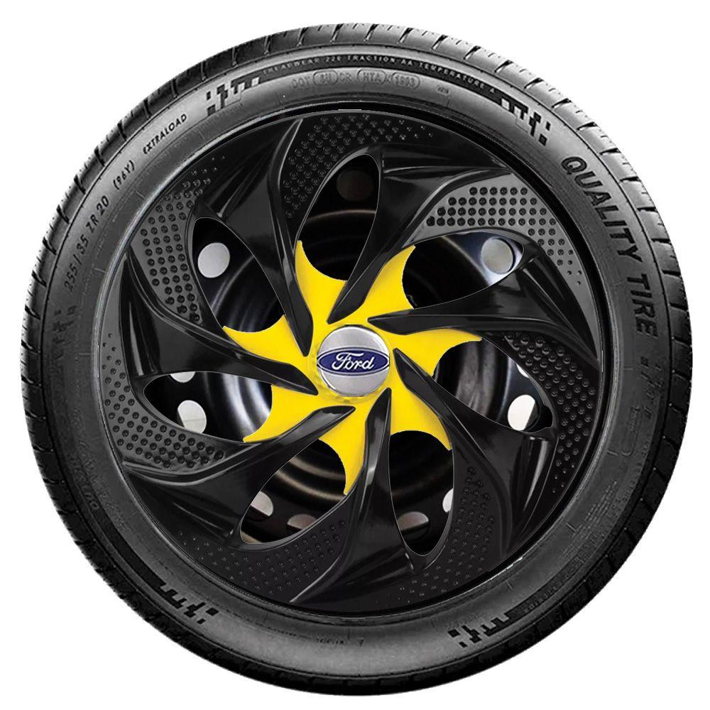 Jogo 4 Calota Evolution Black Yellow Aro 14 Rodas Ford 4x100 / 4x108 / 5x100 Universal