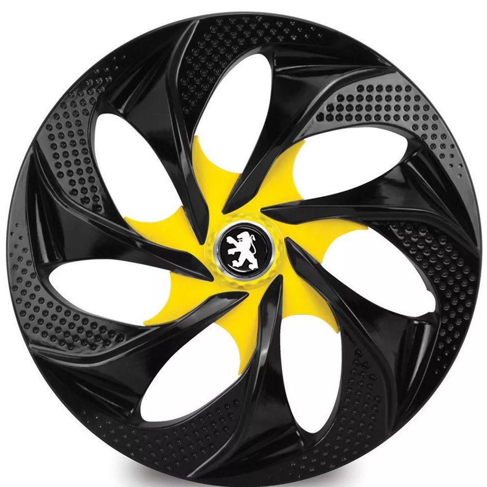 Jogo 4 Calota Evolution Black Yellow Aro 14 Rodas Peugeot 4x100 / 4x108 / 5x100 Universal