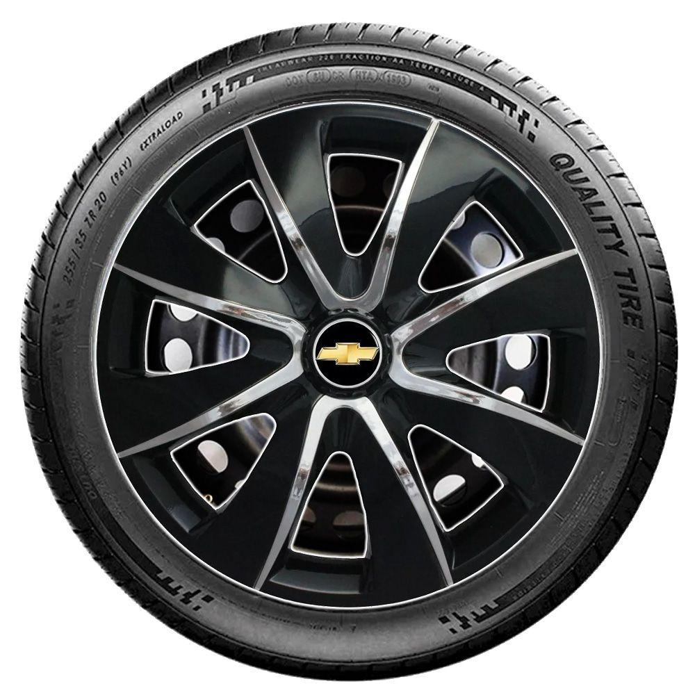 Jogo 4 Calota Prime Aro 13 Black Chrome Rodas Chevrolet 4x100 / 4x108 / 5x100 Universal Gm