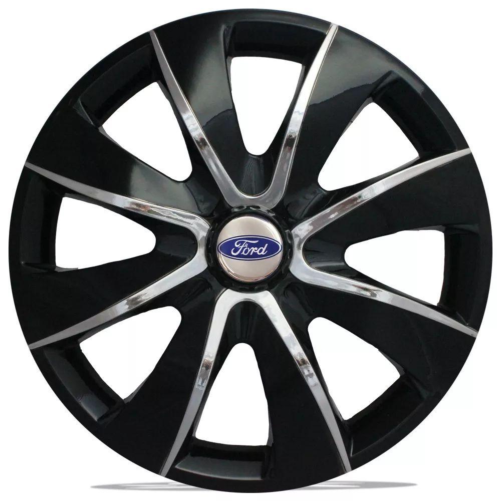 Jogo 4 Calota Prime Aro 13 Black Chrome Rodas Ford 4x100 / 4x108 / 5x100 Universal