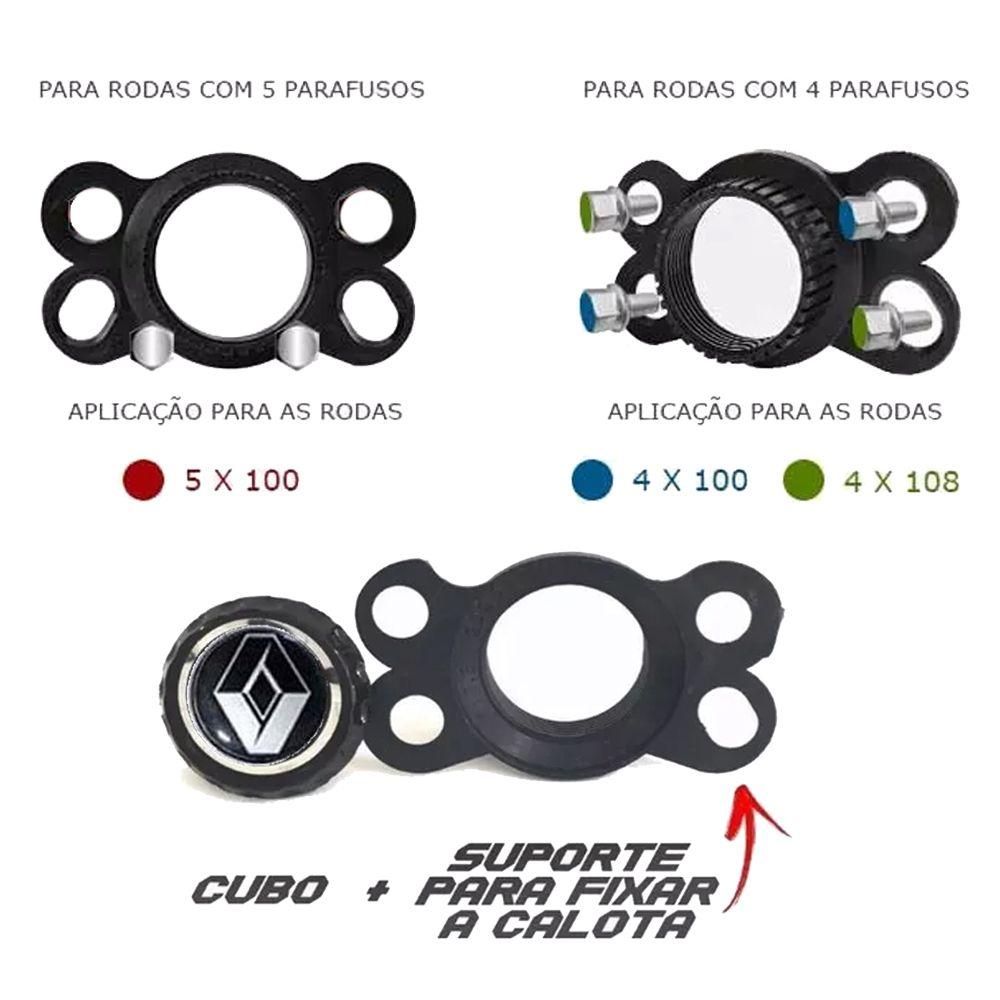 Jogo 4 Calota Prime Aro 13 Black Chrome Rodas Renault 4x100 / 4x108 / 5x100 Universal