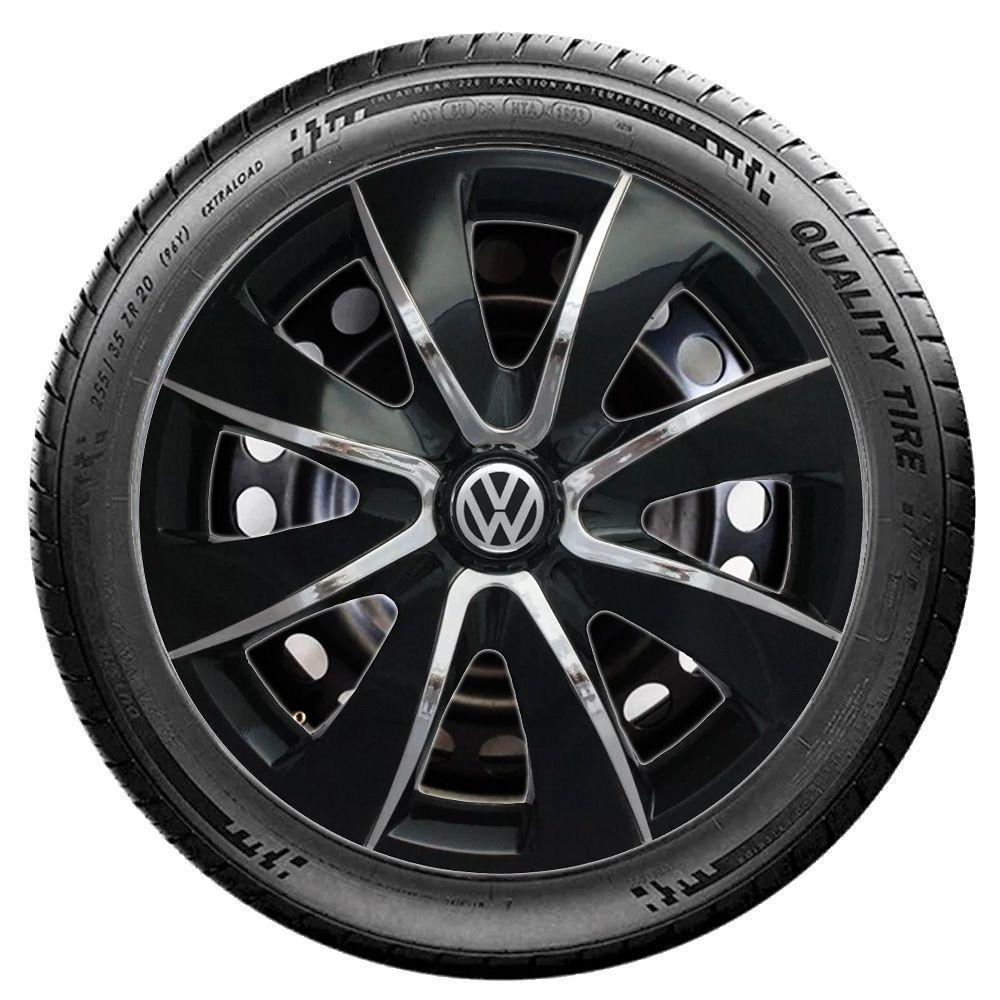 Jogo de Calotas Volkswagen Prime Preto Aro 13 Universal Poliparts