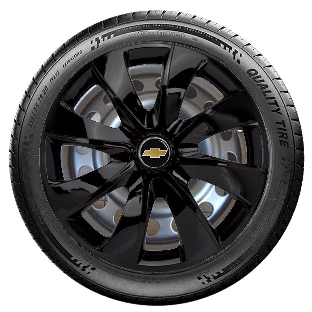 Jogo 4 Calota Prime Aro 14 Black Rodas Chevrolet 4x100 / 4x108 / 5x100 Universal Gm