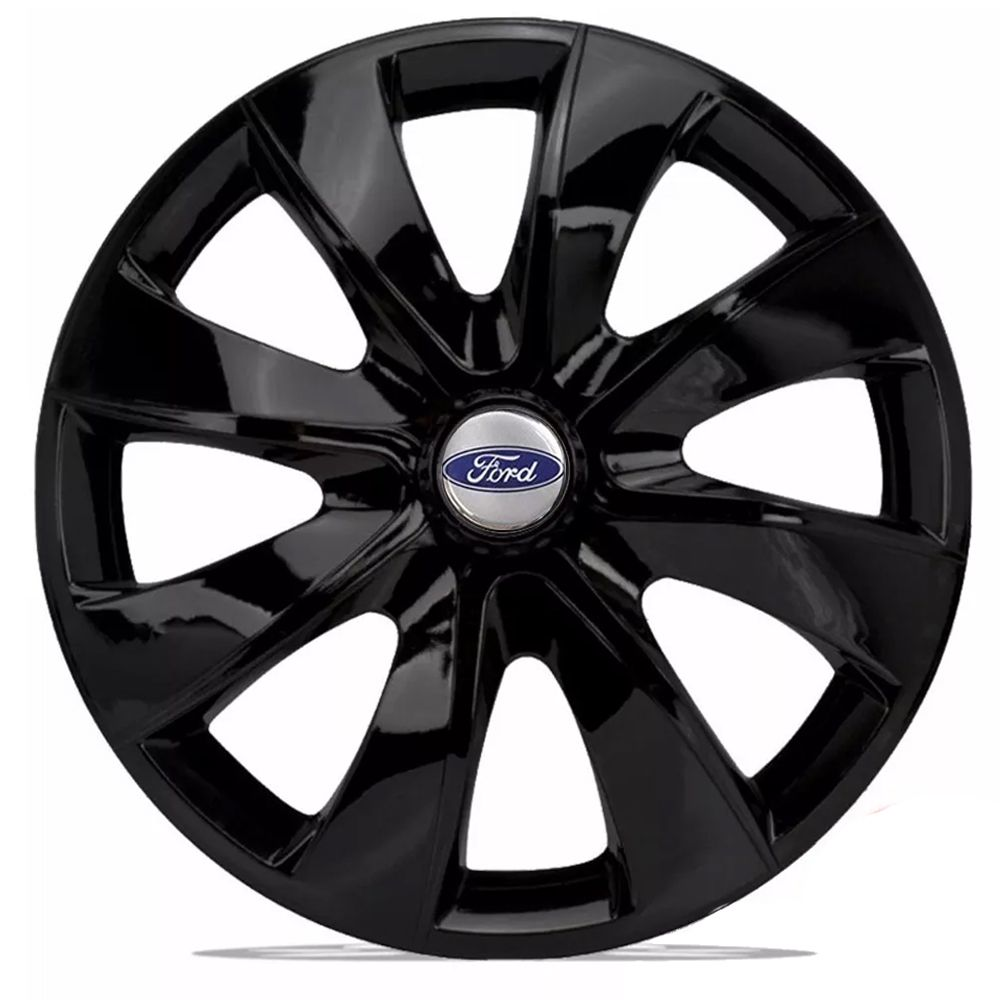 Jogo 4 Calota Prime Aro 14 Black Rodas Ford 4x100 / 4x108 / 5x100 Universal
