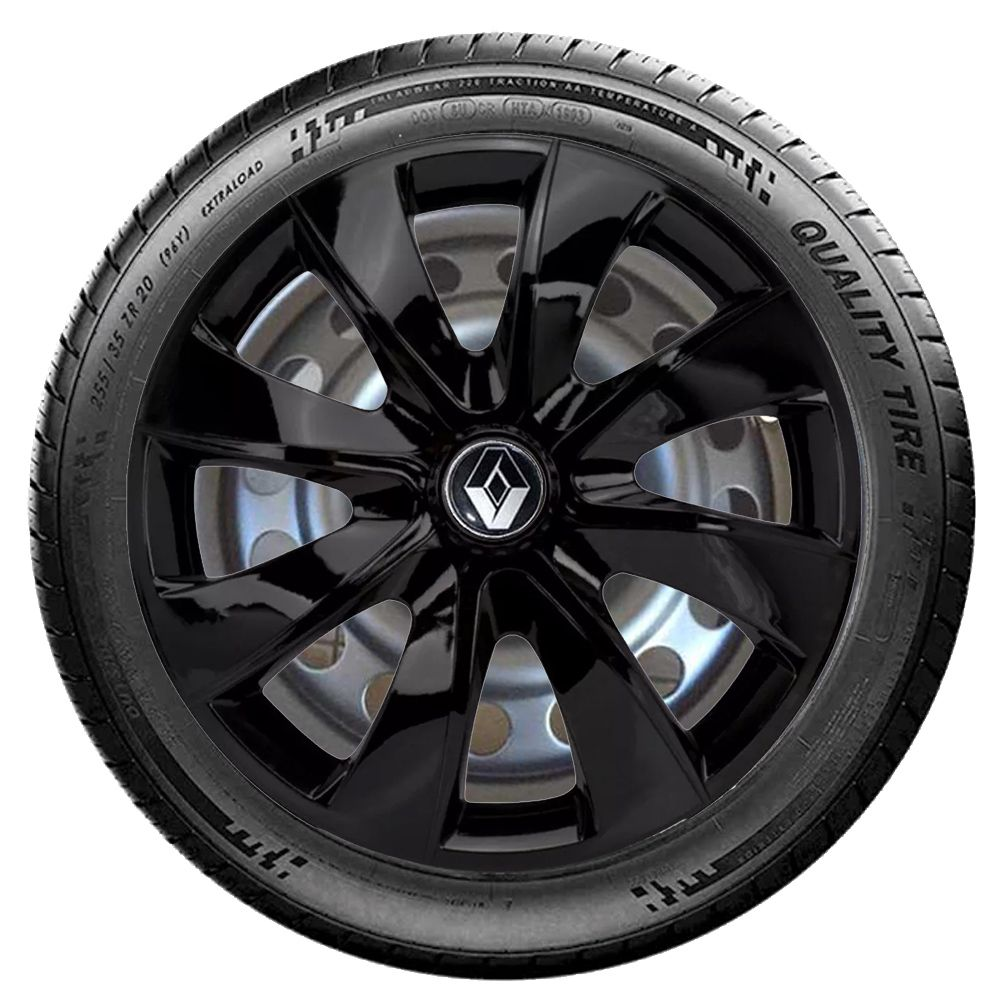 Jogo 4 Calota Prime Aro 14 Black Rodas Renault 4x100 / 4x108 / 5x100 Universal