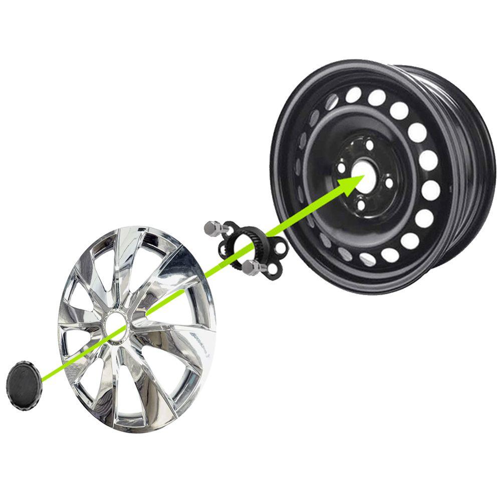 Jogo 4 Calota Prime Chrome Aro 13 Rodas Chevrolet 4x100 / 4x108 / 5x100 Universal Gm