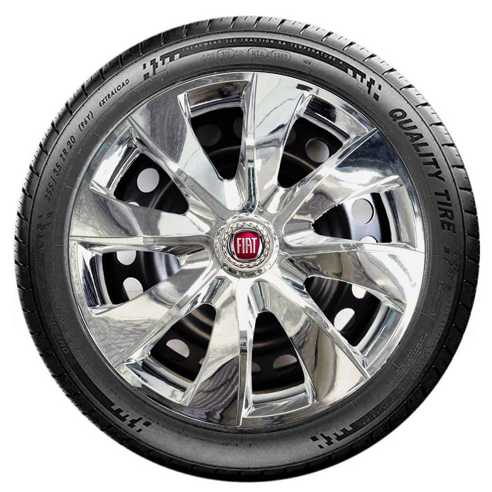 Jogo 4 Calota Prime Chrome Aro 13 Rodas Fiat 4x100 / 4x108 / 5x100 Universal