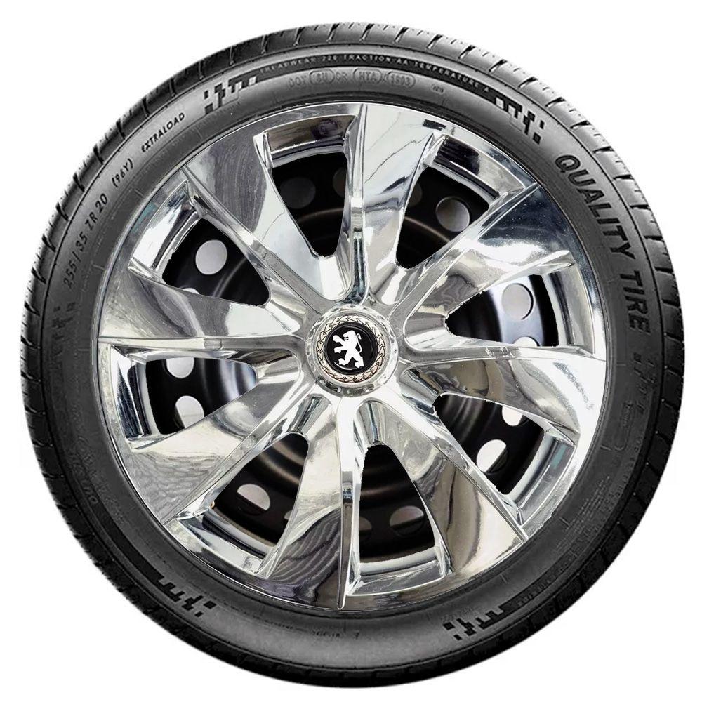 Jogo 4 Calota Prime Chrome Aro 13 Rodas Peugeot 4x100 / 4x108 / 5x100 Universal
