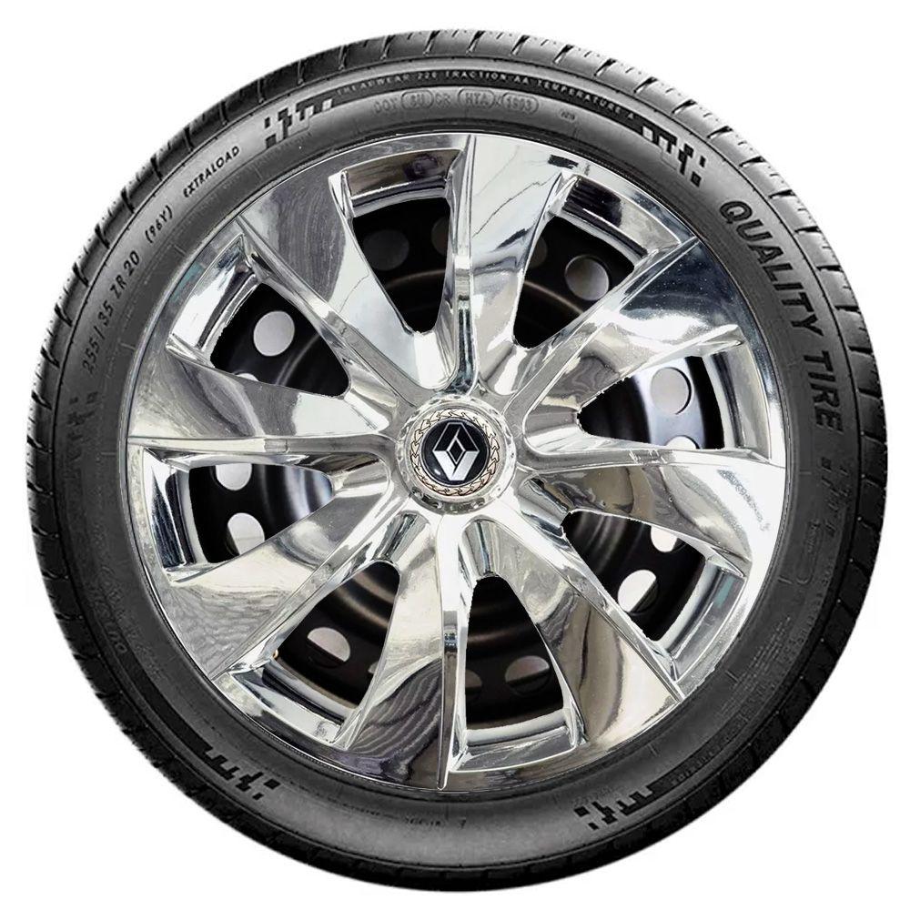 Jogo 4 Calota Prime Chrome Aro 13 Rodas Renault 4x100 / 4x108 / 5x100 Universal