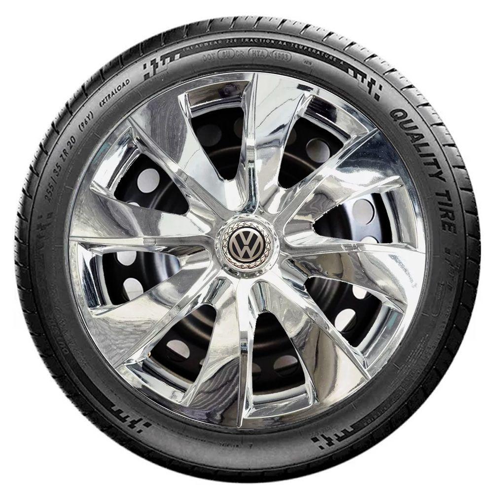 Jogo 4 Calota Prime Chrome Aro 13 Rodas Volkswagen 4x100 / 4x108 / 5x100 Universal Vw