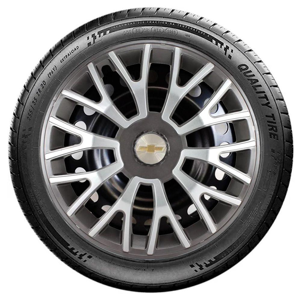 Jogo 4 Calota Triton Sport Aro 14 Grafite / Prata Rodas Chevrolet 4x100 / 4x108 / 5x100 Universal Gm