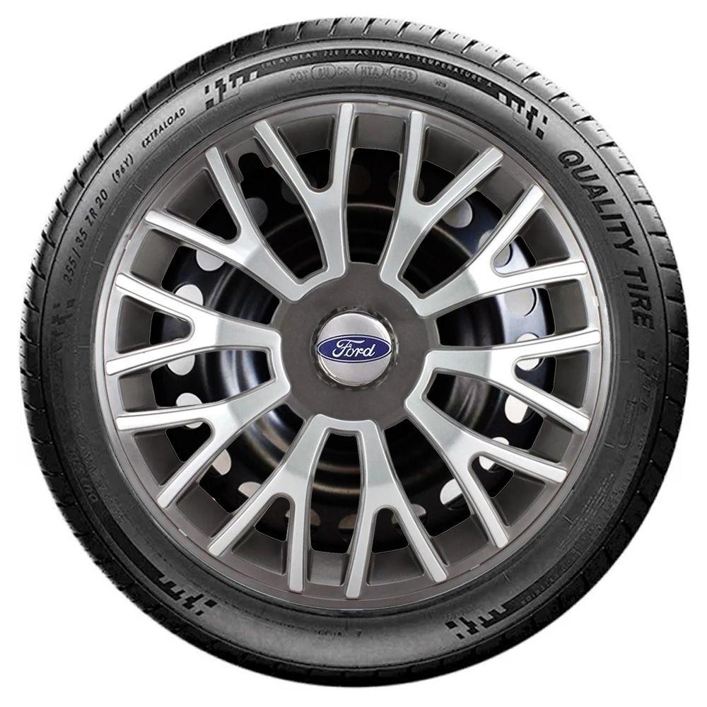 Jogo 4 Calota Triton Sport Aro 14 Grafite / Prata Rodas Ford 4x100 / 4x108 / 5x100 Universal