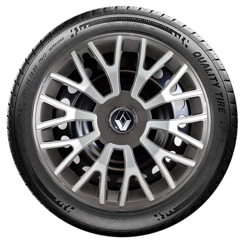 Jogo 4 Calota Triton Sport Aro 14 Grafite / Prata Rodas Renault 4x100 / 4x108 / 5x100 Universal