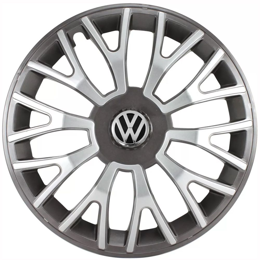 Jogo 4 Calota Triton Sport Aro 14 Grafite / Prata Rodas Volkswagen 4x100 / 4x108 / 5x100 Universal Vw