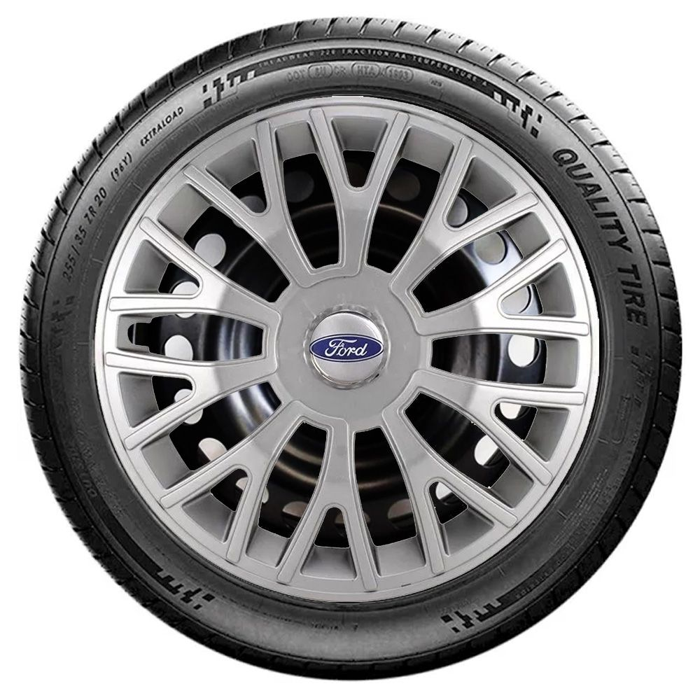 Jogo 4 Calota Triton Sport Aro 14 Prata Rodas Ford 4x100 / 4x108 / 5x100 Universal