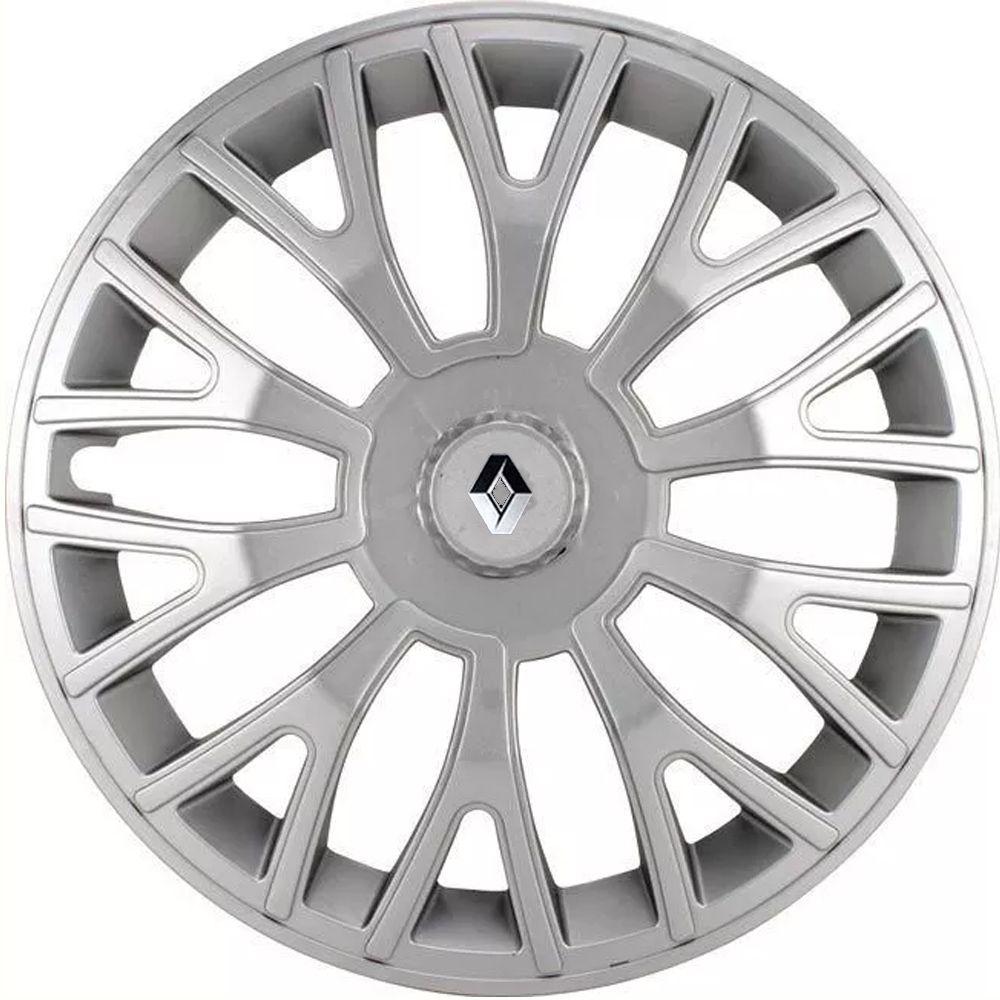 Jogo 4 Calota Triton Sport Aro 14 Prata Rodas Renault 4x100 / 4x108 / 5x100 Universal