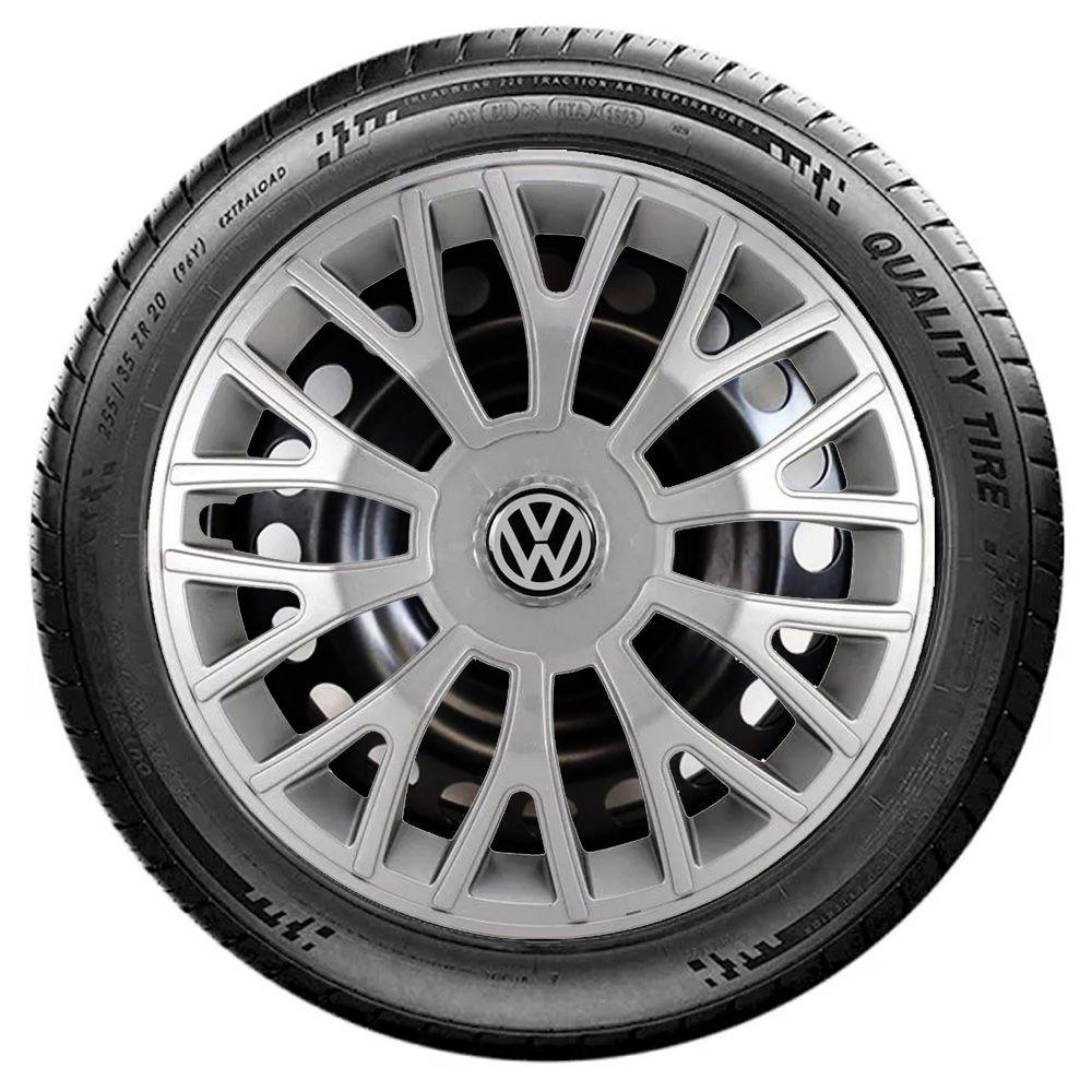 Jogo 4 Calota Triton Sport Aro 14 Prata Rodas Volkswagen 4x100 / 4x108 / 5x100 Universal Vw