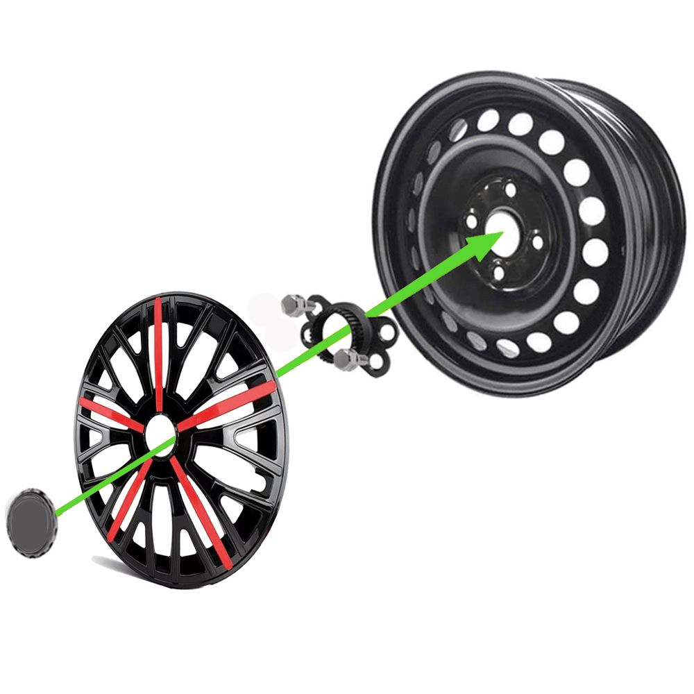 Jogo 4 Calota Triton Sport Aro 14 Preta / Vermelha Rodas Ford 4x100 / 4x108 / 5x100 Universal