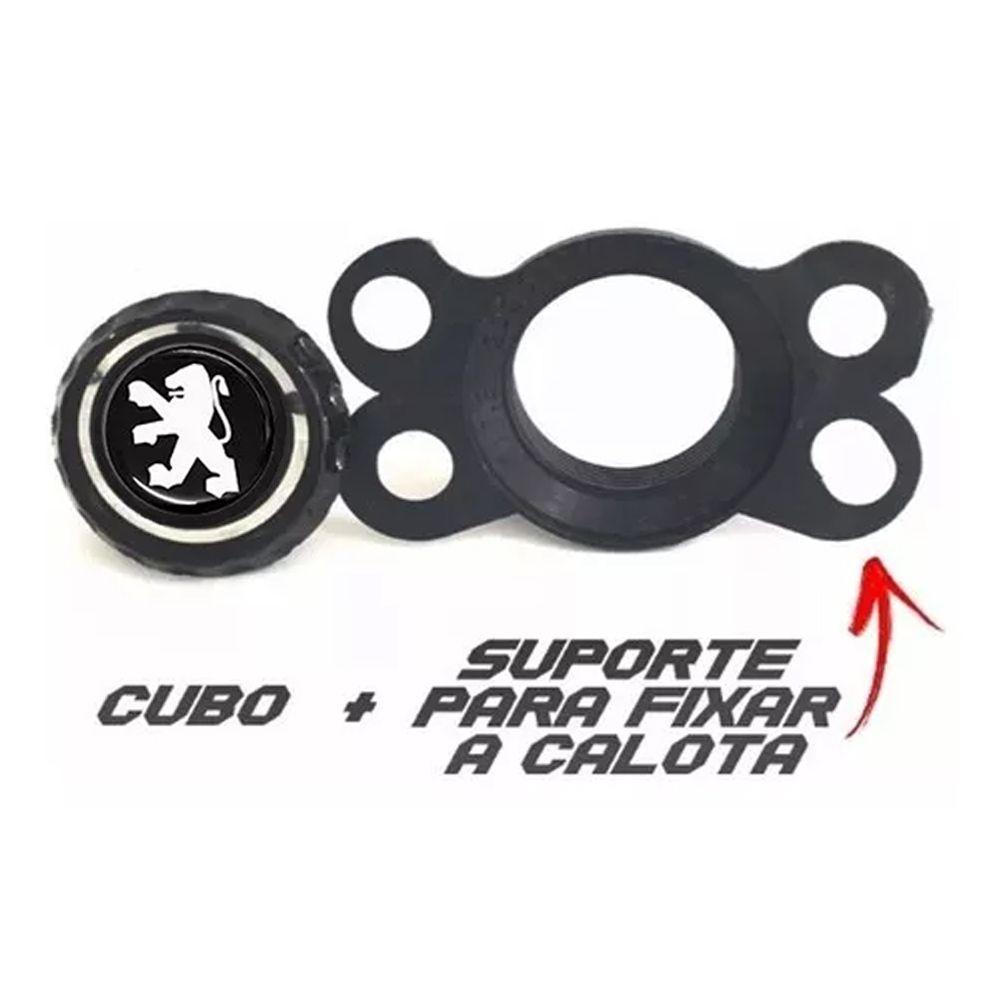 Jogo 4 Calota Triton Sport Aro 14 Preta / Vermelha Rodas Peugeot 4x100 / 4x108 / 5x100 Universal