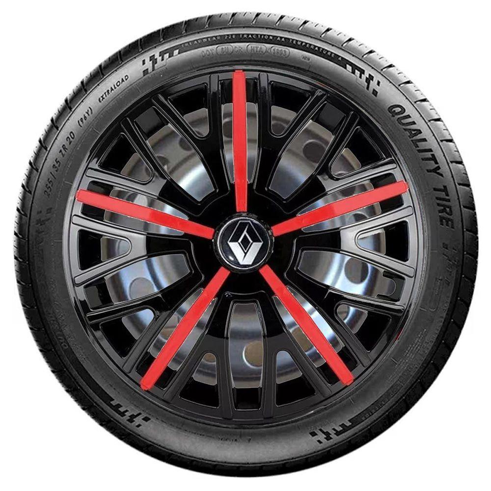 Jogo de Calotas Renault Triton Sport Preto e Vermelho Aro 14 Universal Poliparts