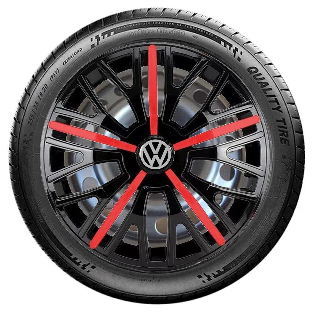 Jogo 4 Calota Triton Sport Aro 14 Preta / Vermelha Rodas Volkswagen 4x100 / 4x108 / 5x100 Universal Vw