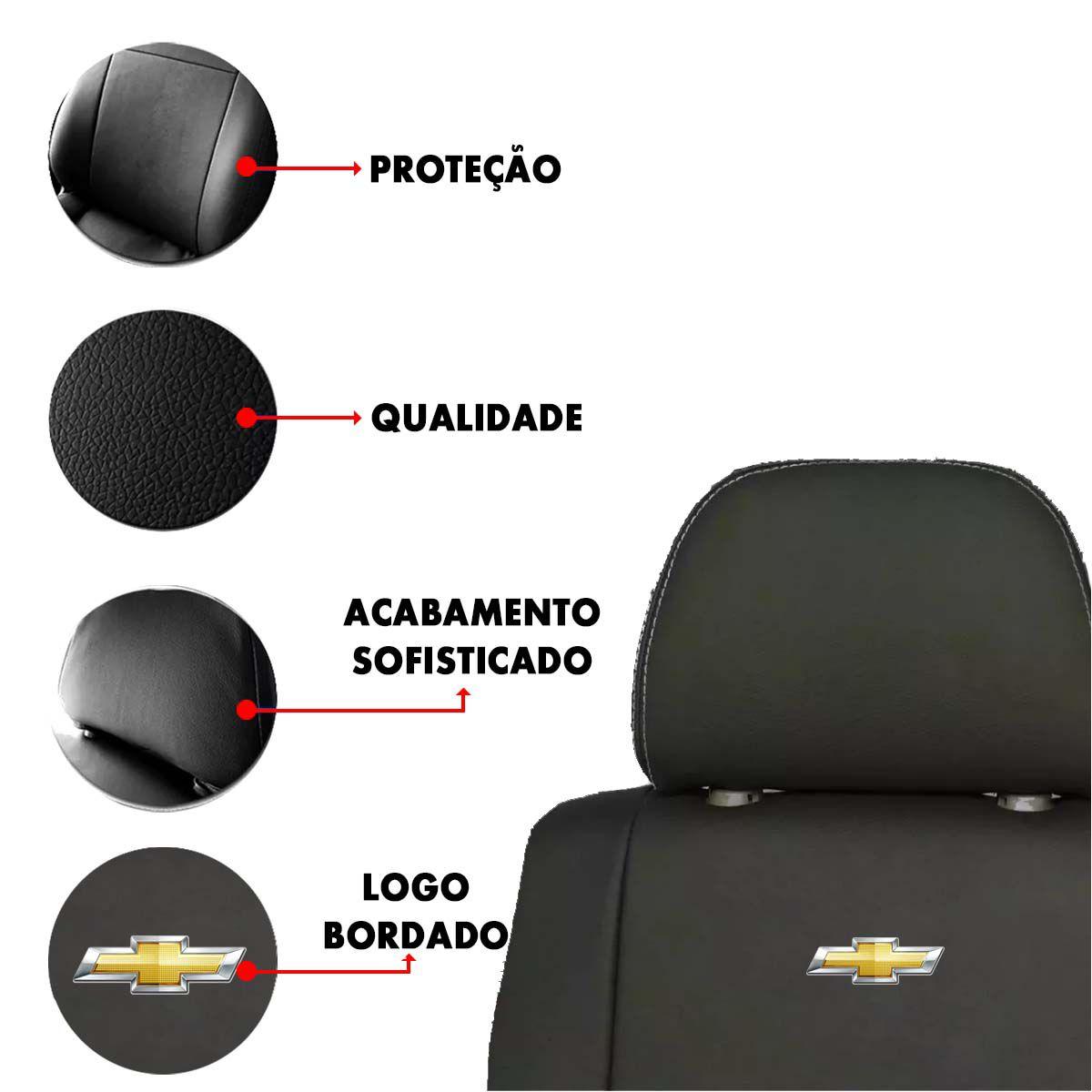 Capa de Banco Chevrolet Corsa Classic Celta Vectra Astra Couro Sintetico Bordado Poliparts