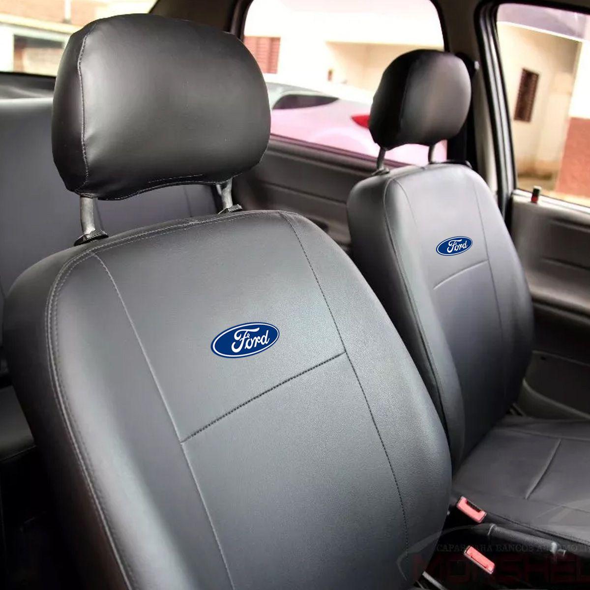 Jogo de Capas de Banco em Couro Inteiriço Ford Ka Fiesta Escort Hobby Zetec Xr3 Gl L Gls Verona F1000 F250 F75 Logus Ecosport Del Rey Belina Pampa Preto