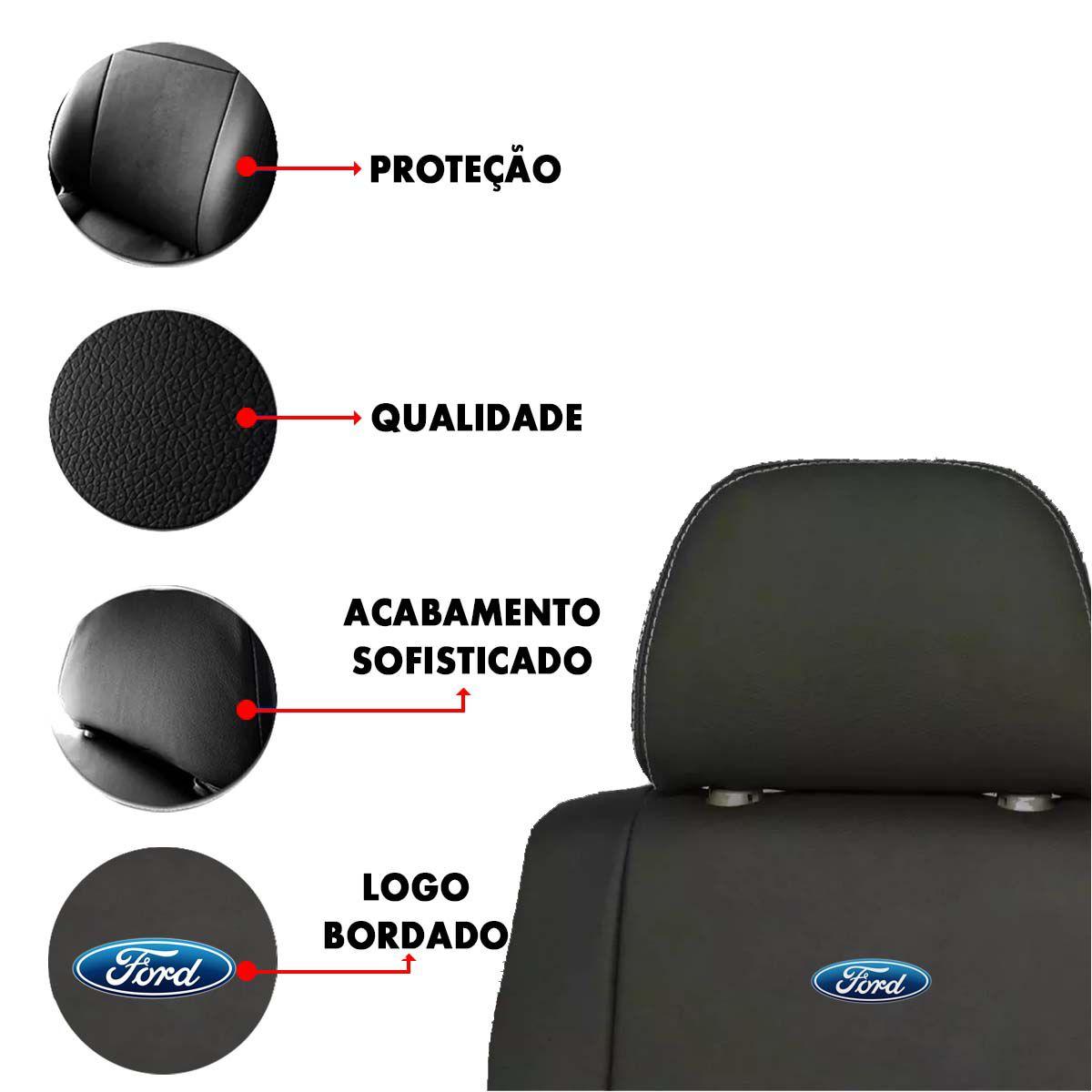 Capa de Banco Ford Ka Fiesta Ecosport Escort F250 F100 Couro Sintetico Bordado Poliparts