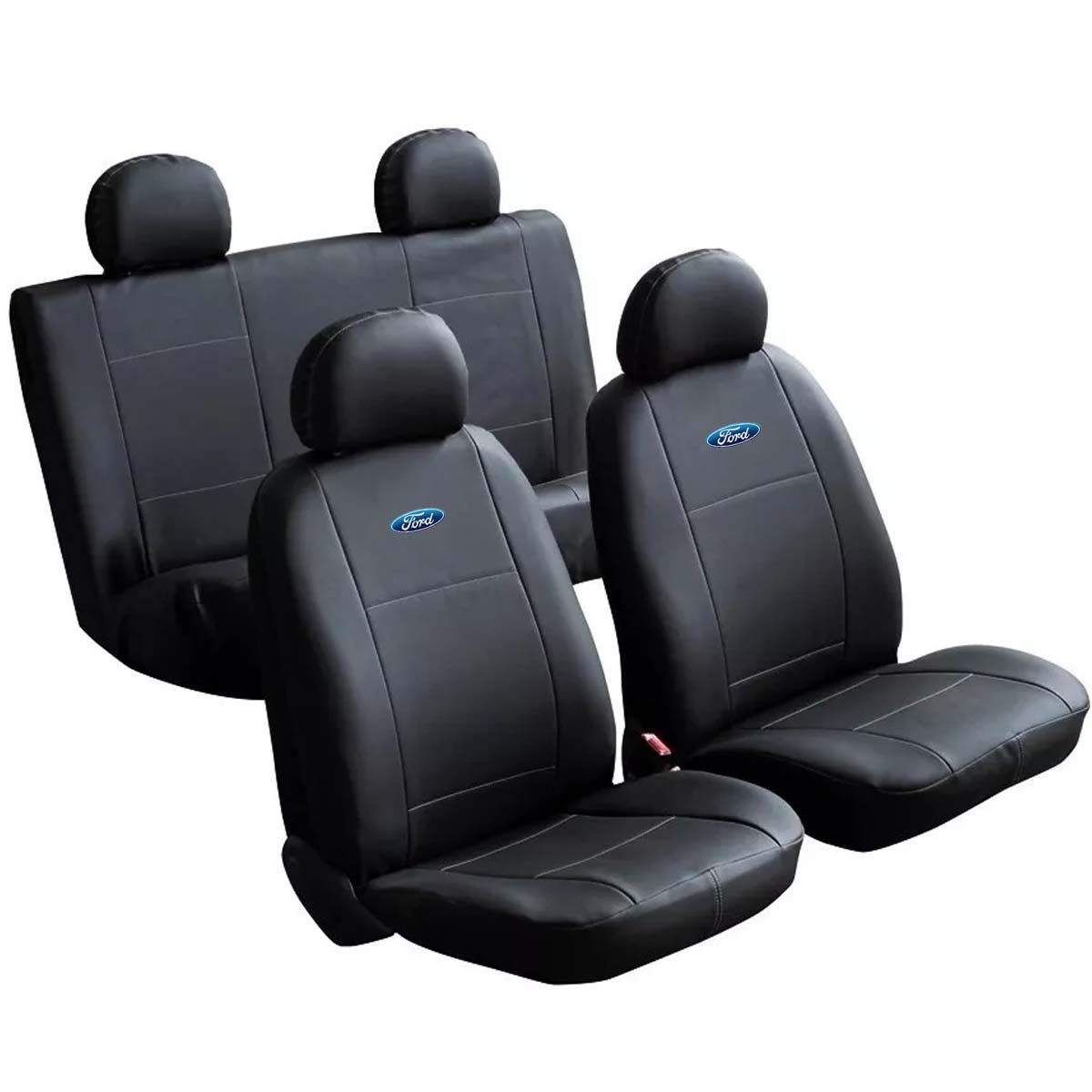 Jogo de Capas de Banco em Couro Ford Ka Fiesta Escort Hobby Zetec Xr3 Gl L Gls Verona F1000 F250 F75 Logus Ecosport Del Rey Belina Pampa Preto