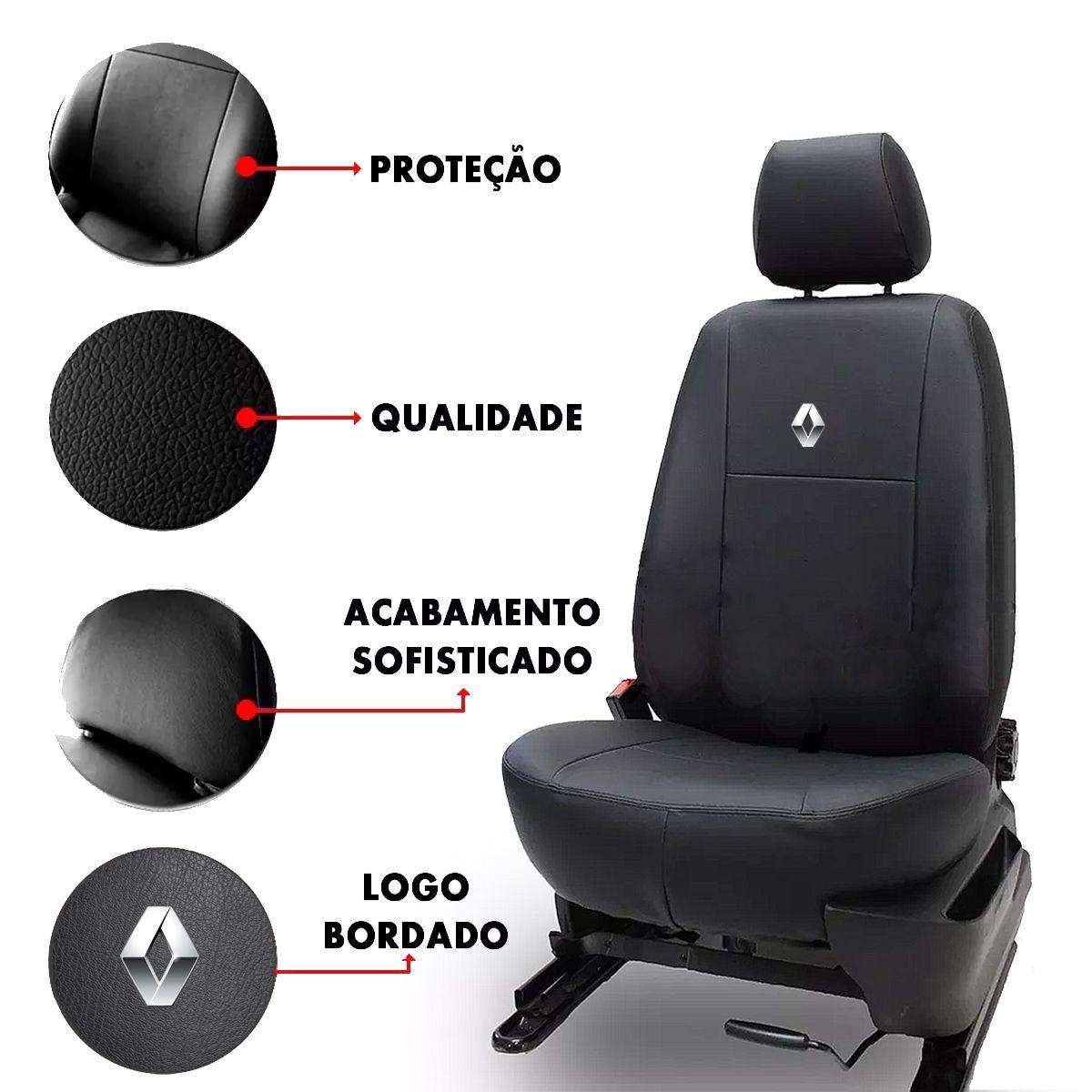 Jogo de Capas de Banco em Couro Inteiriço para Renault Clio Senic Sandero Logan Preto