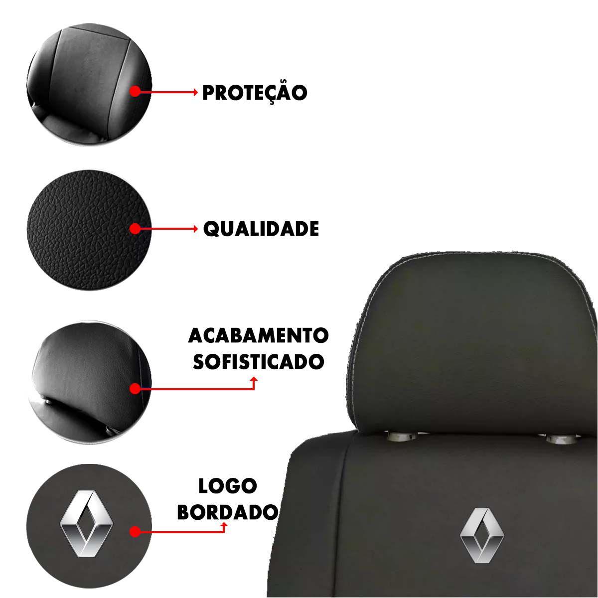 Jogo de Capas de Banco em Couro para Renault Clio Senic Sandero Logan Preto