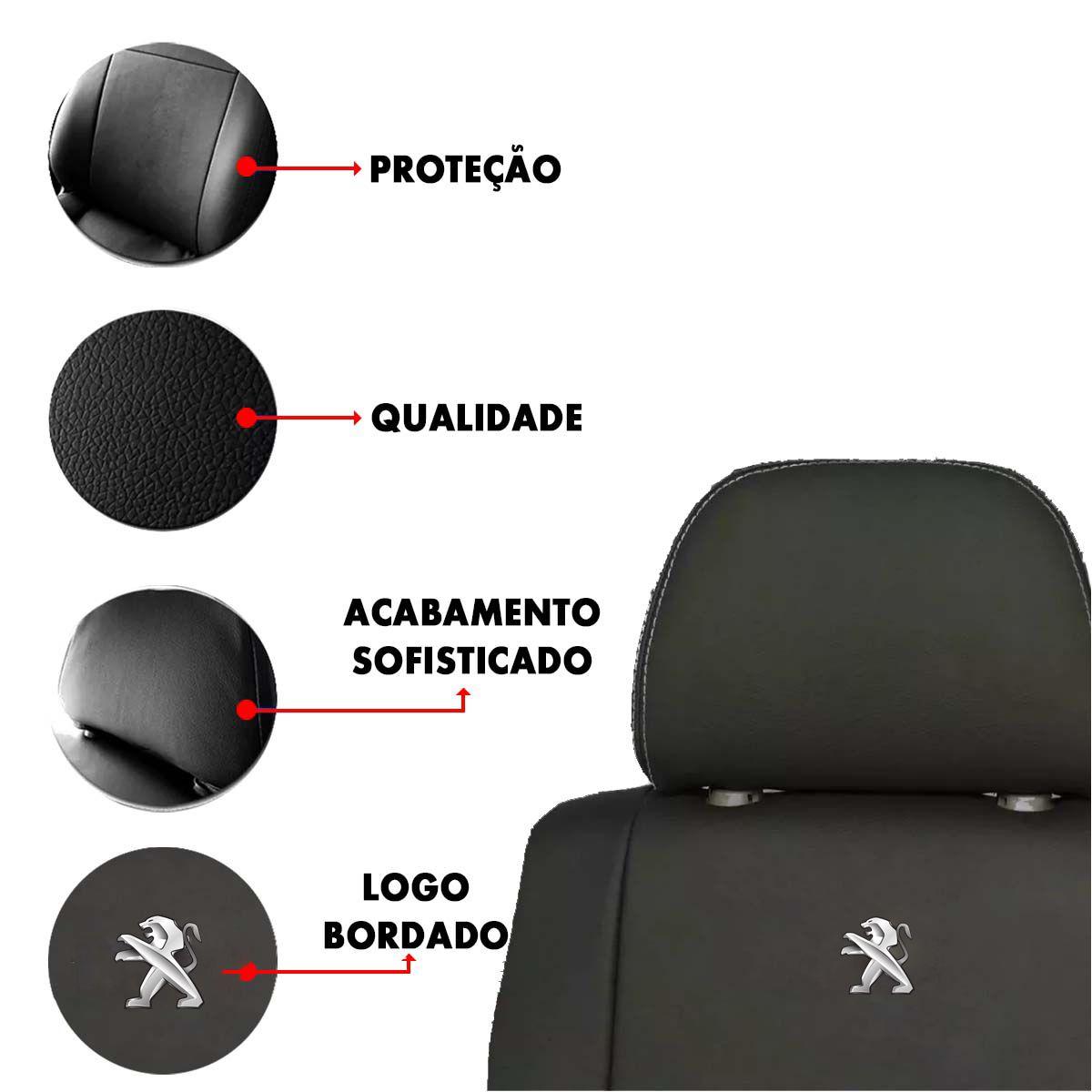Capa de Banco Peugeot 106 206 Couro Sintetico Bordado Poliparts