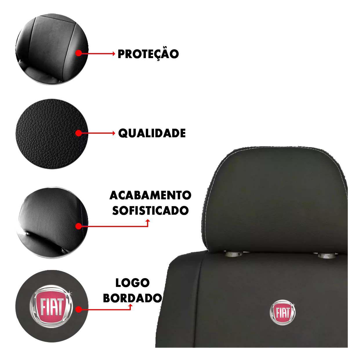 Capa de Banco Fiat Palio Uno Siena Strada Stilo Punto Idea Couro Sintetico Bordado Poliparts