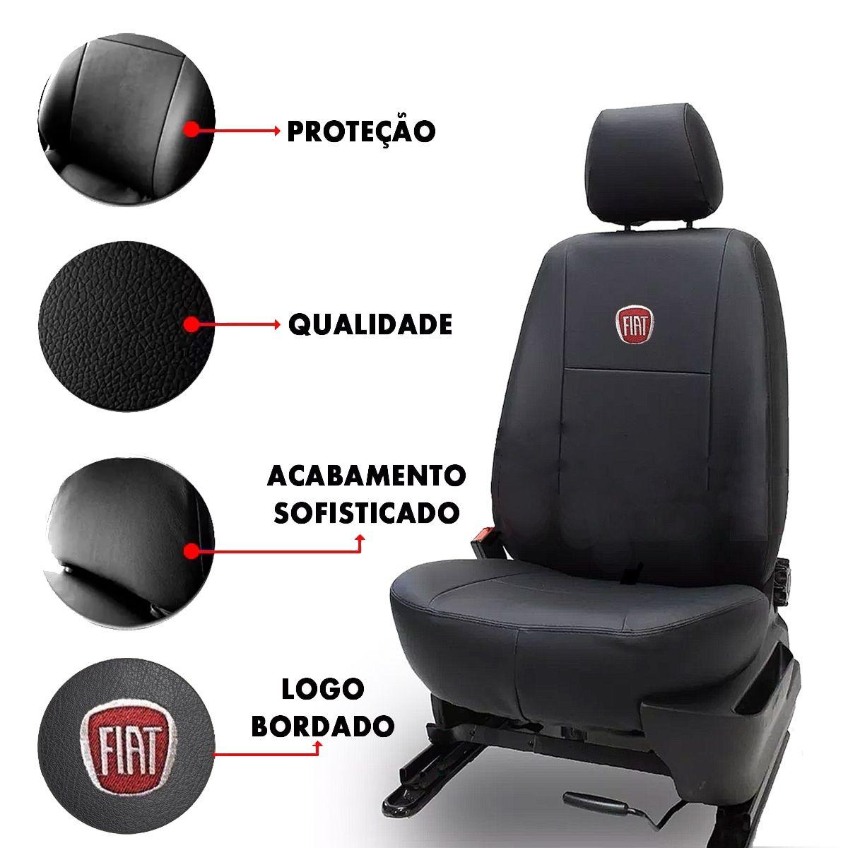 Capa de Banco Fiat Palio Uno Siena Strada Stilo Punto Idea Couro Bordado Poliparts