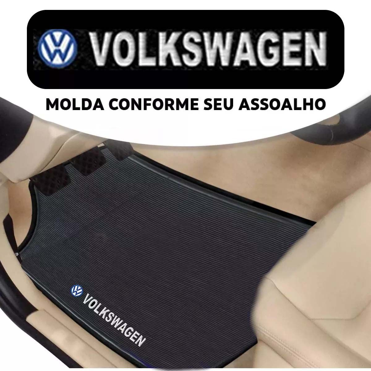 Jogo de Tapete Automotivo para Todos Carros Volkswagen Emborrachado Preto Antiderrapante Impermeável Universal com Logo Bordado e Personalizado Vw