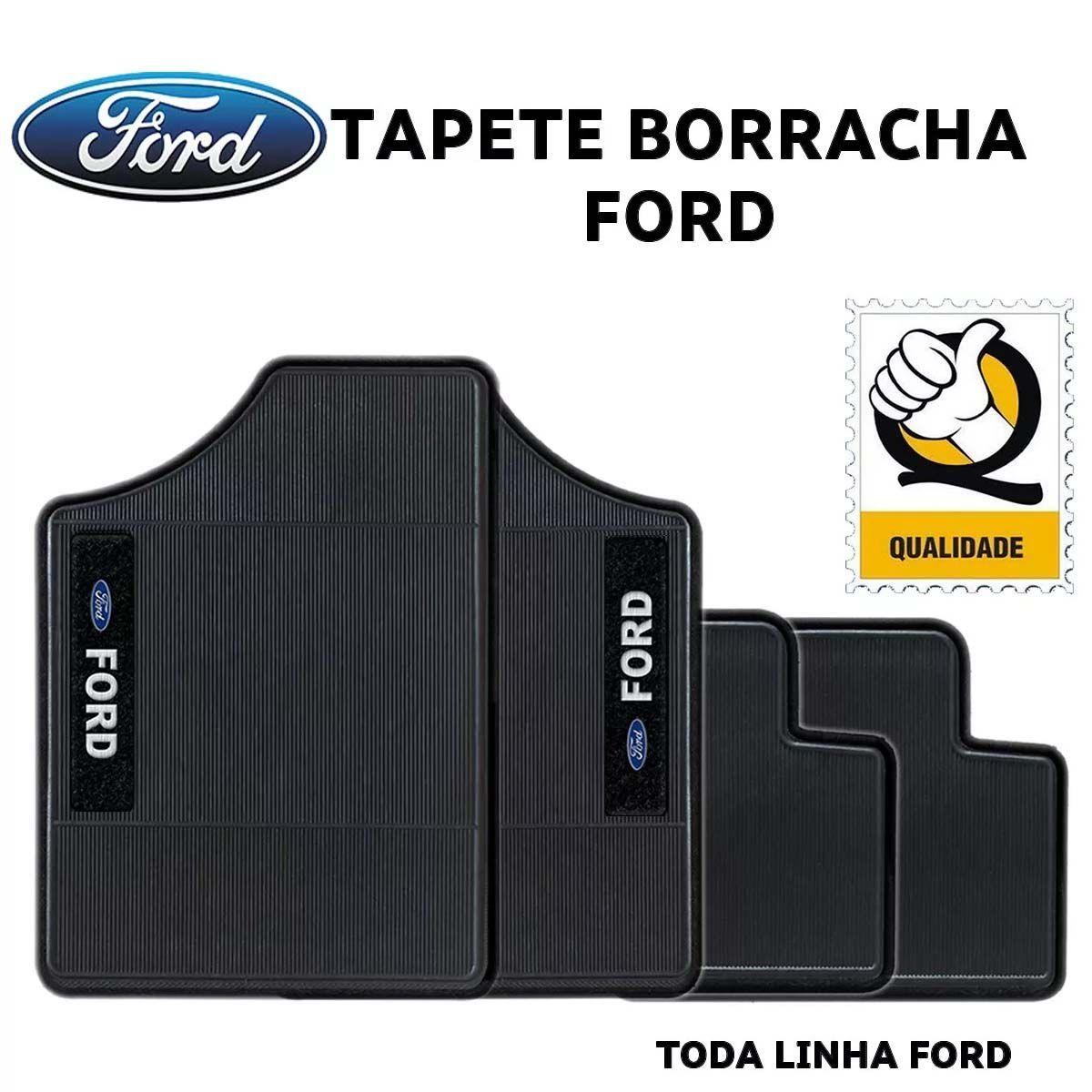 Jogo de Tapete Automotivo para Todos Carros Ford Emborrachado Preto Antiderrapante Impermeável Universal com Logo Bordado e Personalizado