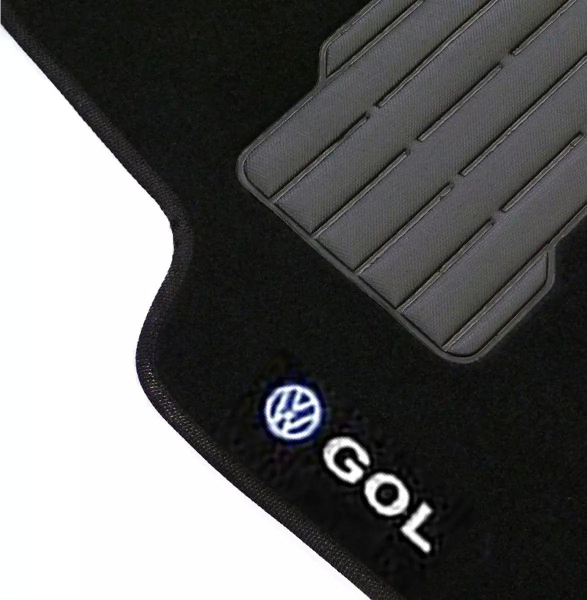 Jogo de Tapete Carpete Automotivo Gol G5 G6 Logo Bordado Volkswagen Preto Personalizado Vw