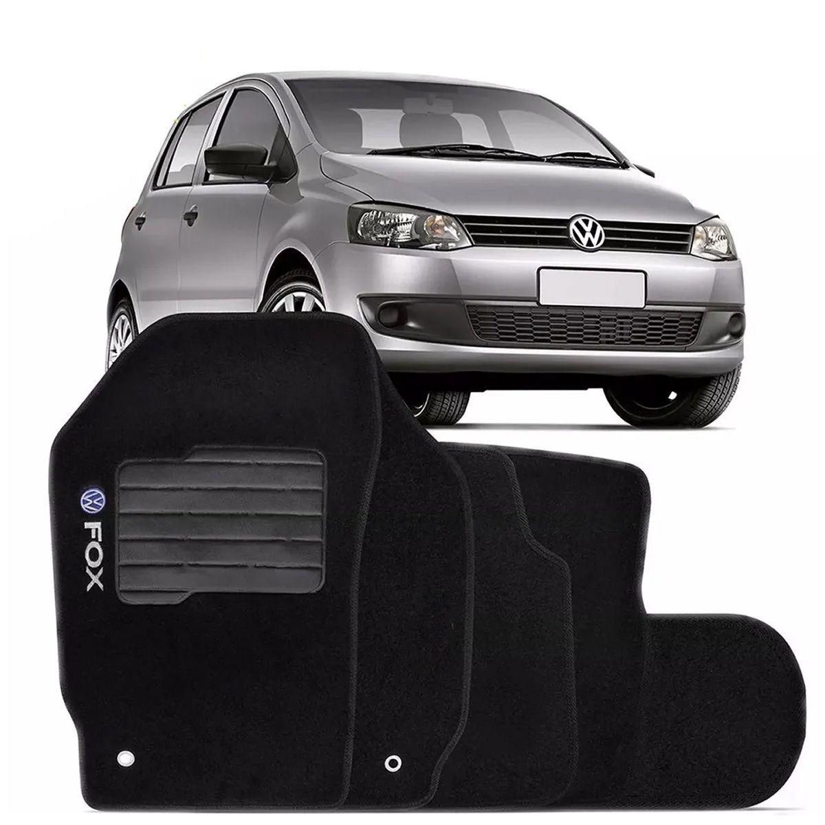 Tapete Carpete Volkswagen Fox 2003 a 2014 Preto Logo Bordado Personalizado Poliparts