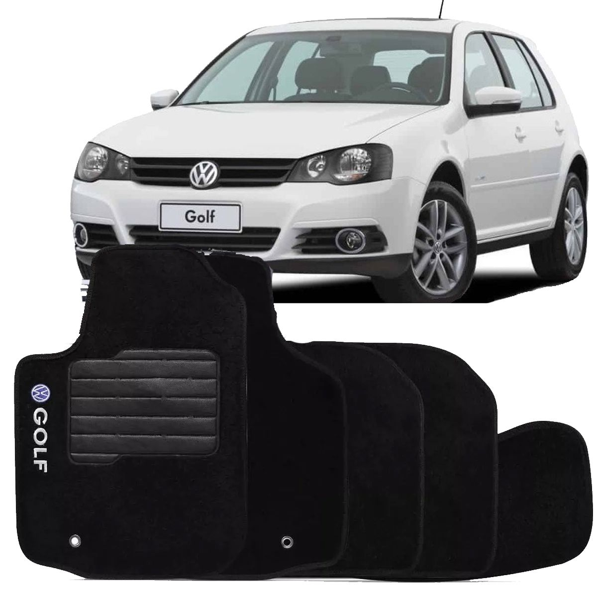 Jogo de Tapete Carpete Golf Bordado Logo Automotivo Preto Personalizado Volkswagen