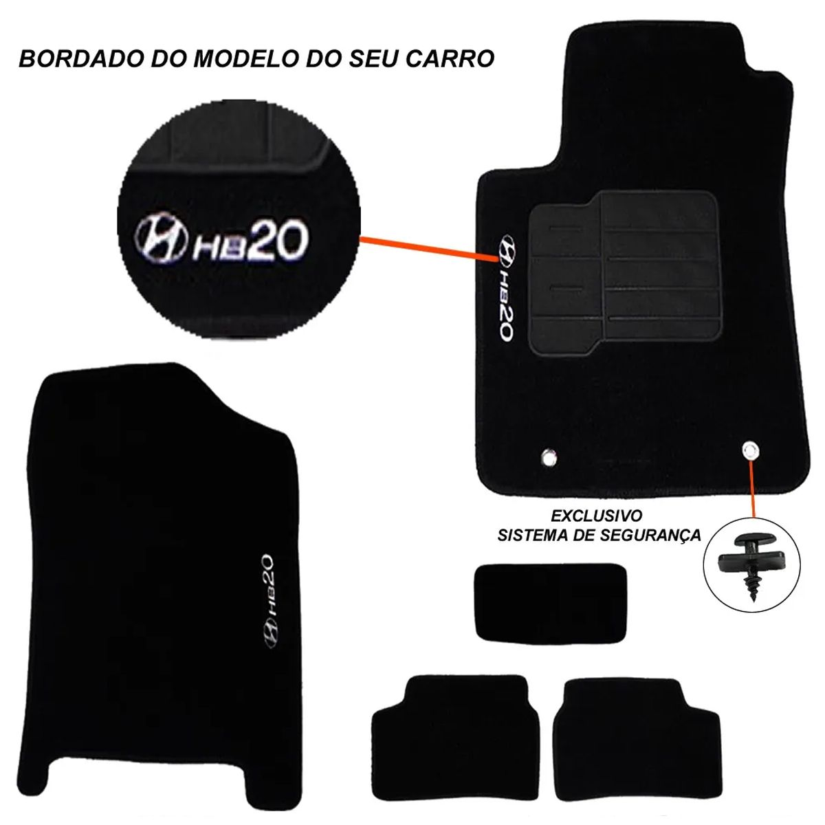 Tapete Carpete Hyundai Hb20 Bordado Logo Preto Personalizado Poliparts