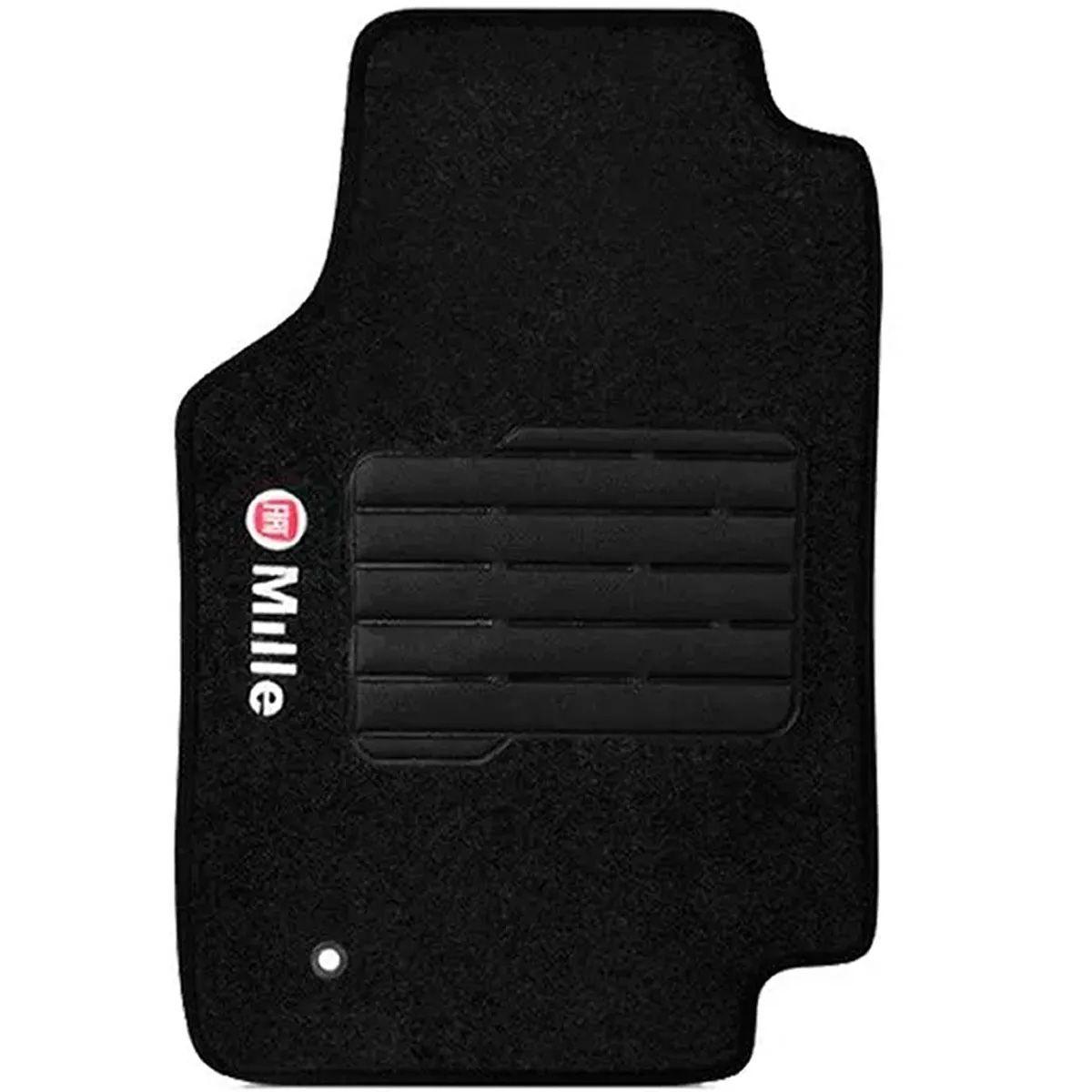 Jogo de Tapete Carpete Fiat Uno Automotivo Preto Bordado Logo Vermelha Personalizado