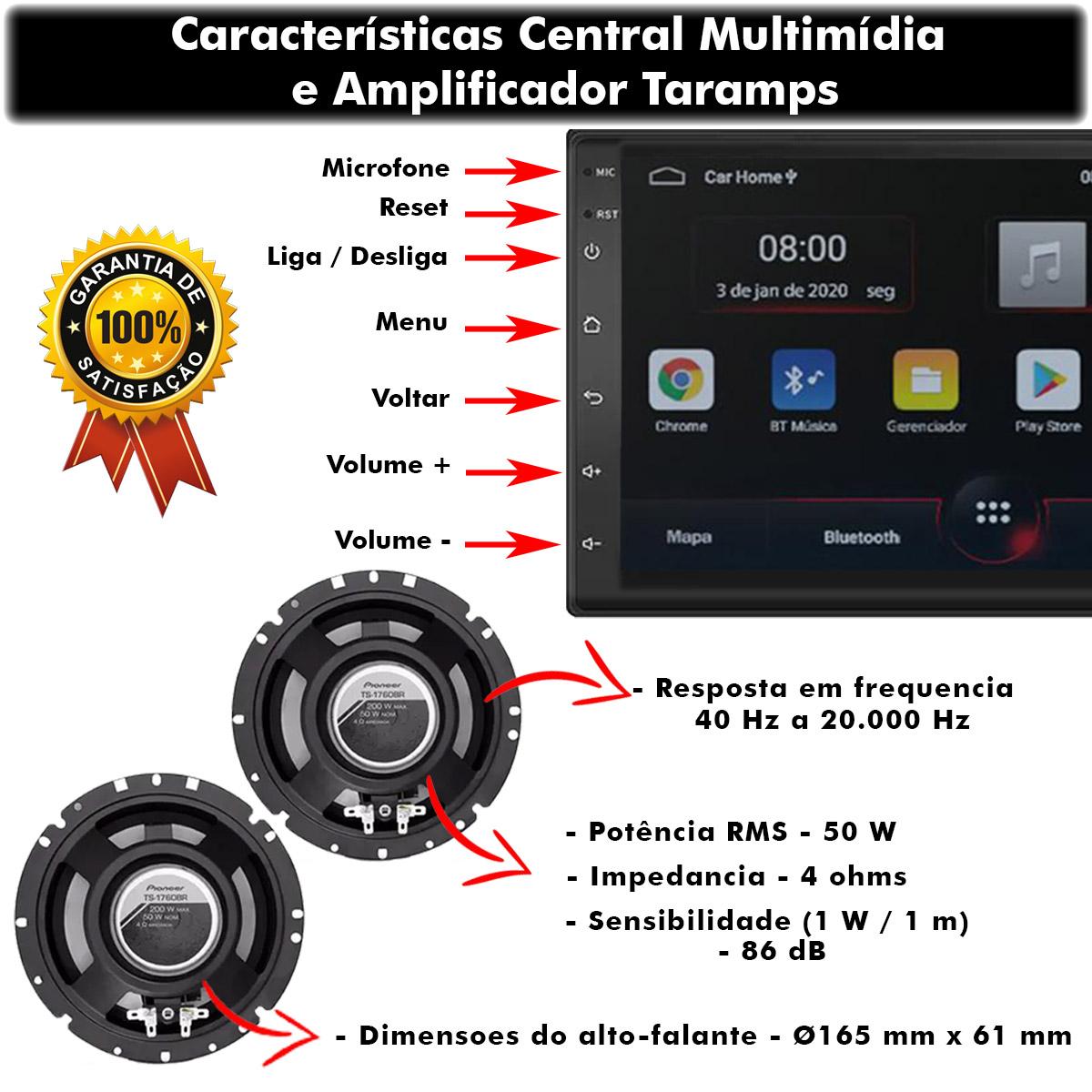 Kit Central Multimídia Android Muzik Bluetooth Mp5 7 Polegadas + Alto Falante Pioneer 6 Polegadas Triaxial Poliparts