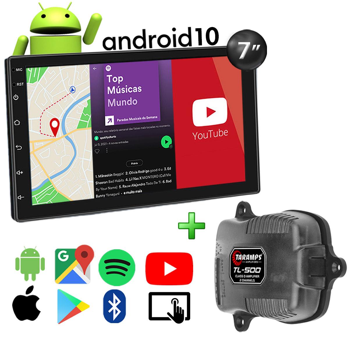 Kit Central Multimídia Android Muzik Bluetooth Mp5 7 Polegadas + Amplificador Taramps TL-500 90 Watts RMS Poliparts