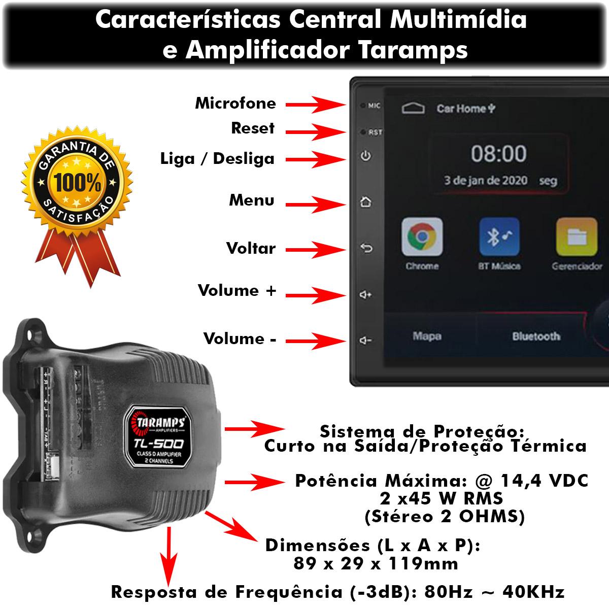 Kit Central Multimídia Android Muzik Bluetooth Mp5 9 Polegadas + Amplificador Taramps TL-500 90 Watts RMS Poliparts